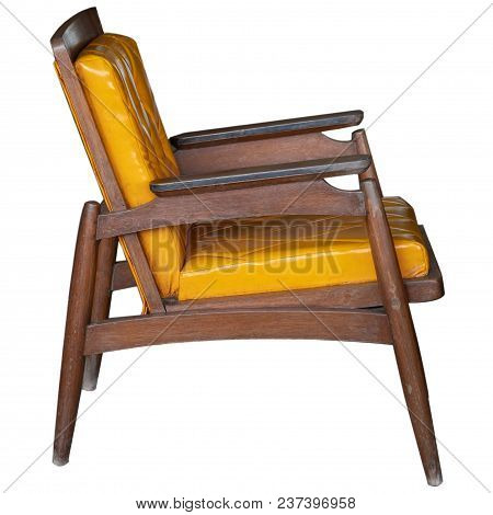 Orange Leather Wood Chair Isolated On White Background