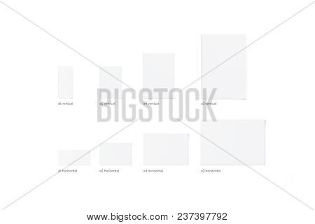 Blank White Vertical And Horizontal Different Size Flyers, Isolated, 3d Rendering. Clear Empty Broch