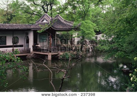a chinese garden near the city of hangzhou, near shanghai. ** Note: Slight graininess, best at smaller sizes poster