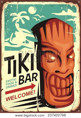 Tiki Bar Vintage Sign Concept With Tiki Mask And Tropical Landscape. Hawaii Cafe Restaurant Ad On Ol