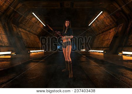 3d Illustration Of Woman With Chainsaw In Scifi Corridor,3d Fantasy Art For Book Cover,book Illustra