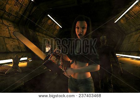 3d Illustration Of Woman With Chainsaw Fight With An Undead In Scifi Corridor,3d Fantasy Art For Boo