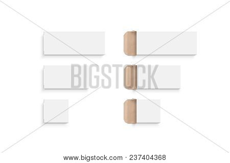 Blank White Boxes Mock Ups Different Size Set, Isolated, 3d Rendering. Empty Opened And Closed Case