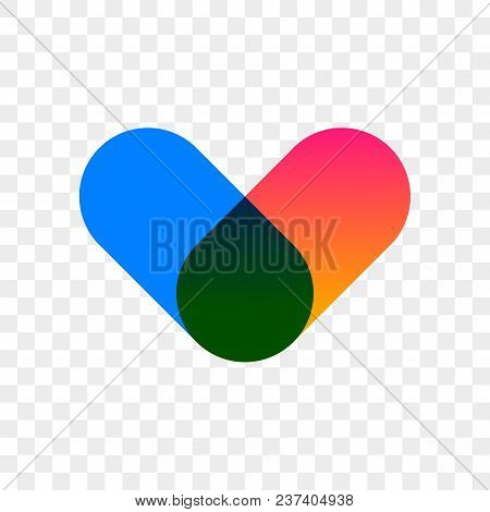 Heart Logo Vector Icon Abstract Vector Color Design. Isolated Modern Heart Symbol For Cardiology Pha