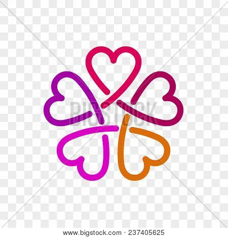 Heart Logo Vector Icon. Isolated Modern Abstract Line Red Pink Heart Flower Symbol For Cardiology Me