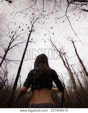 3d Illustration Of Woman Lost In The Woods,there Is Something Following Her In The Forest,scary Back