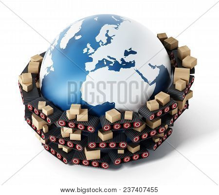 Conveyor Belts Transfering Cardboard Boxes Around The Earth. 3d Illustration.