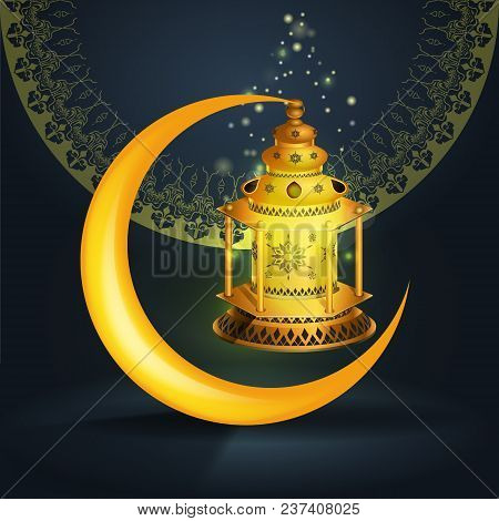 Ramadan Kareem Vector Greetings Design With Lantern Or Fanoos Mock Up With Blue Background. Vector I