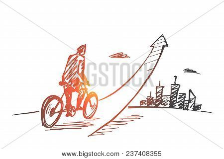 Vector Hand Drawn Start Up Concept Sketch With Young Businessman On Bicycle Riding Up And Big City A