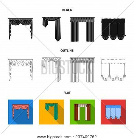 Different Types Of Window Curtains.curtains Set Collection Icons In Black, Flat, Outline Style Vecto