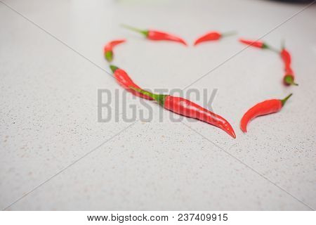 Red Chili Pepper Composed In The Form Of Heart