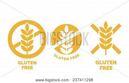 Gluten Free Label Or No Wheat Vector Icon Template For Gluten Free Food Package Or Dietetic Product