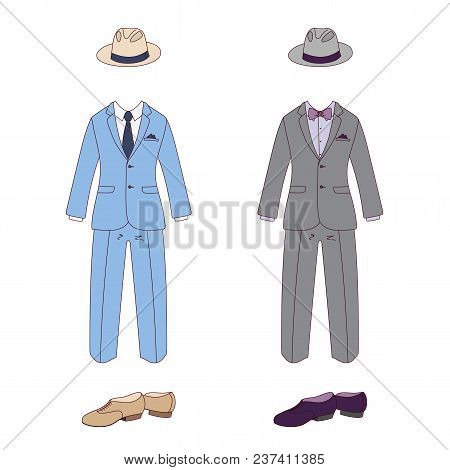 Hand Drawn Vector Illustration Of Elegant Men Clothes: Classic Suits, In Blue And Gray, With Bow Tie