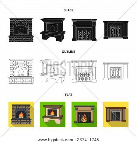 Fire, Warmth And Comfort.fireplace Set Collection Icons In Black, Flat, Outline Style Vector Symbol