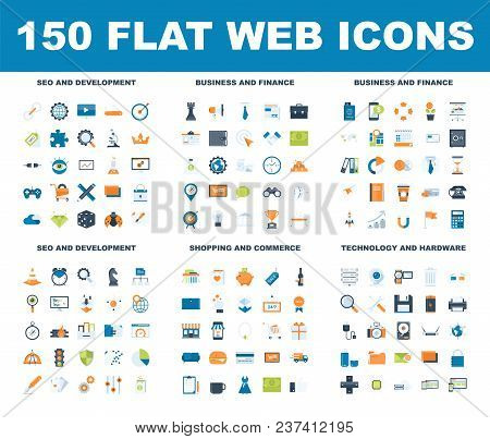 150 Flat Web Icons - Seo And Development, Business And Finance, Shopping And Commerce, Technology An