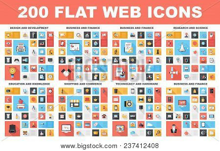 200 Flat Web Icons - Design And Development, Business And Finance, Research And Science, Education A