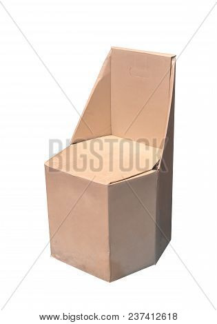 Paper Chair Made From Recycle Cardboard Isolated On White Background