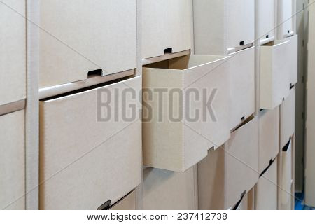 Row Of Cardboard Drawer For Interior Decoration. Recycle Paper Furniture.