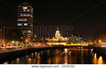 Night View Of Bridges In Dublin