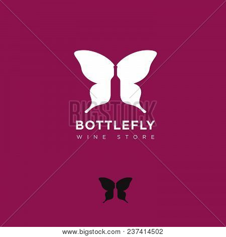 A Bottle Of Wine And Butterfly Wings Silhouette. The Emblem Of The Wine Store.