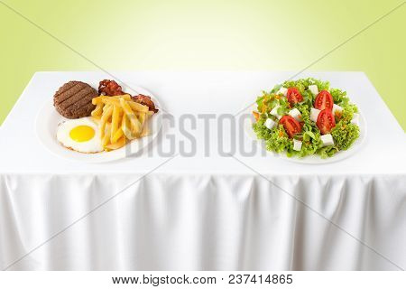 Contrasting Healthy Versus Junk Food On A Table