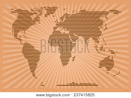 Retro World Map. World Map In Grunge Style. World Map Consisting Of Horizontal Stripes On A Vintage