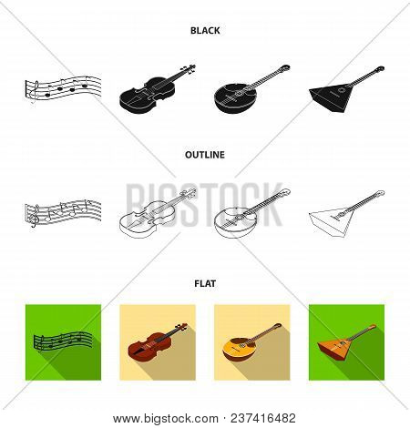 Musical Instrument Black, Flat, Outline Icons In Set Collection For Design. String And Wind Instrume