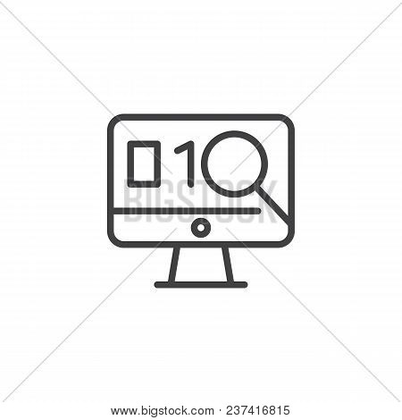 Exploit Found With Magnifying Glass Outline Icon. Linear Style Sign For Mobile Concept And Web Desig
