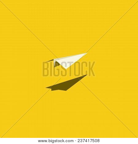 Paper Plane Vector Illustration On Bright Yellow Background. Symbol Of Creativity, Journey, Voyage,