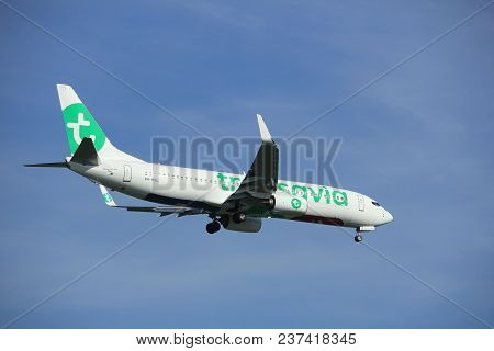 Amsterdam The Netherlands - April, 19th 2018: Ph-hxl Transavia Boeing 737-800 On Final Approach To S