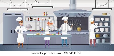 Commercial Kitchen With Cartoon Characters Chef Cook Dish Dinner. Vector Illustration Of Restaurant