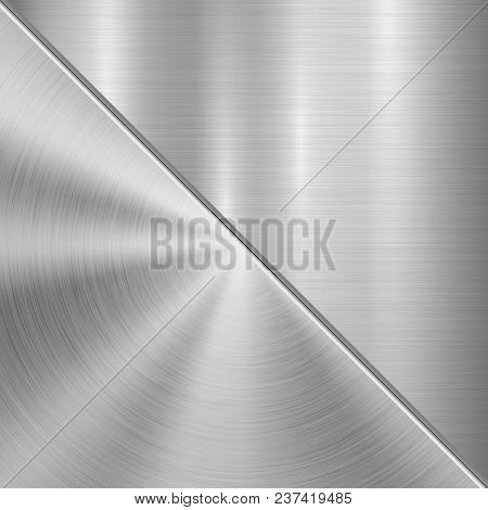 Metal Technology Background With Circular And Straight Polished, Brushed Texture, Chrome, Silver, St