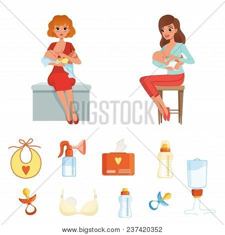 Set Of Colorful Items Related To Breastfeeding Theme. Cartoon Characters Of Two Young Women Mothers