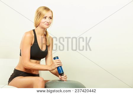 Sport, Training, Gym And Lifestyle Concept. Young Attractive Slim Woman In Sportswear With Air Pump