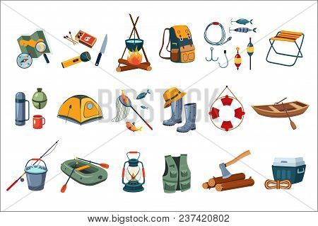 Camping Icon Set. Tourist Equipment Tent, Map, Compass. Items For Fishing Rod, Hooks, Boats. Fisherm