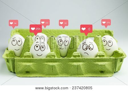 Happy Eggs With Many Likes, One Sad Egg Without Likes. Social Networks