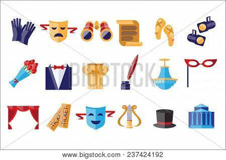 Theatre Icons Set, Theatrical Acting Performance Elements Vector Illustrations Isolated On A White B