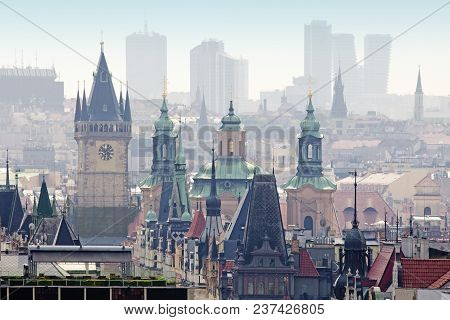 Czech Republic, Prague - Spires Of The Old Town And Office Highrises.