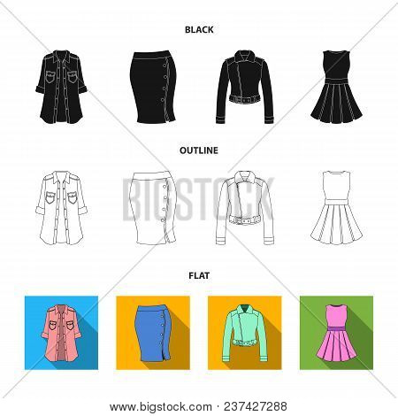 Women Clothing Black, Flat, Outline Icons In Set Collection For Design.clothing Varieties And Access