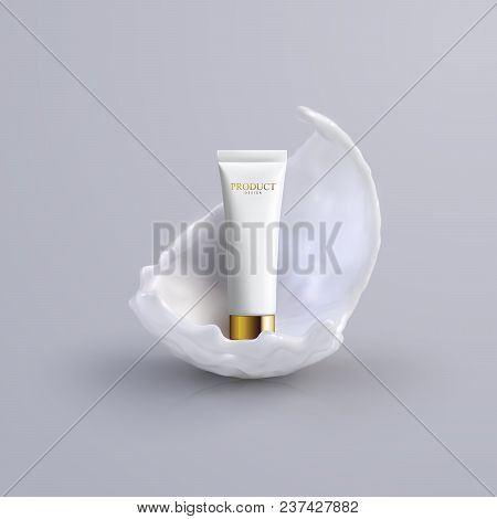 Cosmetics Product Ads Poster Template. Cosmetic Beauty Mockup. Cream Tube Package With Creamy Lotion