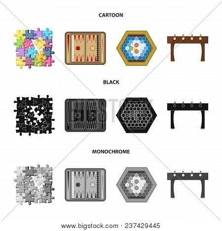 Board Game Cartoon, Black, Monochrome Icons In Set Collection For Design. Game And Entertainment Vec
