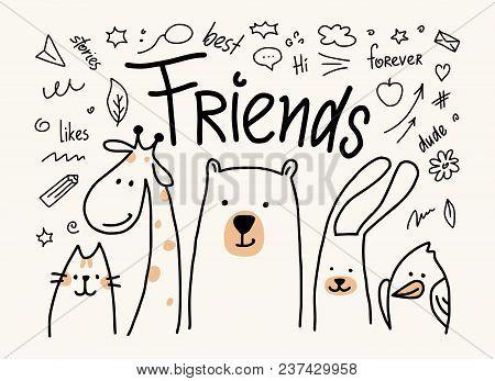 Five Animals Friends Vector Cute Flat Illustration. Cartoon Card With Cat, Bear, Giraffe, Rabbit And