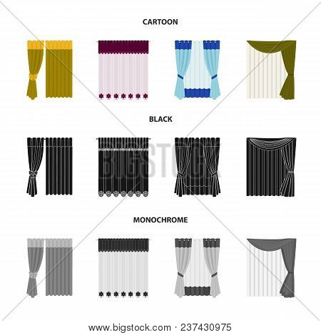 Curtains, Drapes, Garters, And Other  Icon In Cartoon, Black, Monochrome Style. Textiles, Furniture
