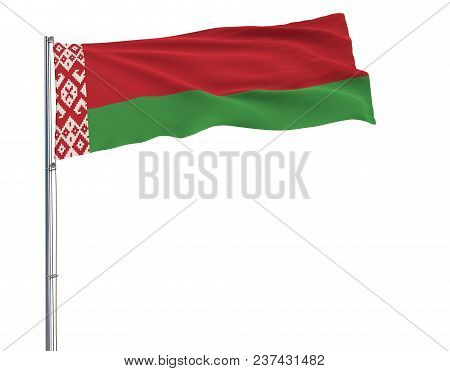 Isolate Flag Of Belarus On A Flagpole Fluttering In The Wind On A White Background, 3d Rendering