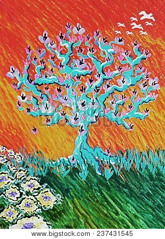 Acrylic Painting On Canvas Of An Abstract Flowering Tree With Birds And Grassy Field