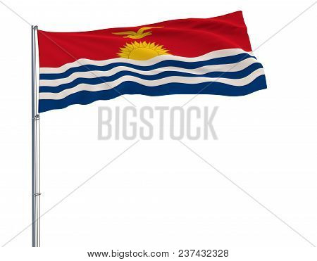 Isolate Flag Of Kiribati On A Flagpole Fluttering In The Wind On A White Background, 3d Rendering, 4