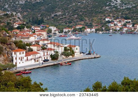 Agia Kyriaki traditional Greek fishing village at Trikeri of Pelion in Greece poster