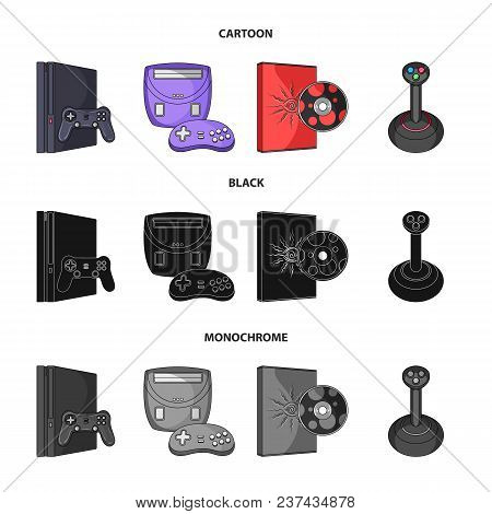 Game Console, Joystick And Disc Cartoon, Black, Monochrome Icons In Set Collection For Design.game G