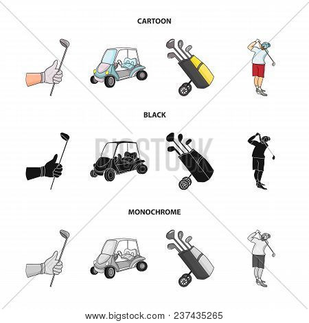 A Gloved Hand With A Stick, A Golf Cart, A Trolley Bag With Sticks In A Bag, A Man Hammering With A