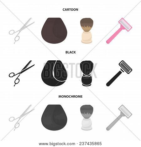 Scissors, Brush, Razor And Other Equipment. Hairdresser Set Collection Icons In Cartoon, Black, Mono